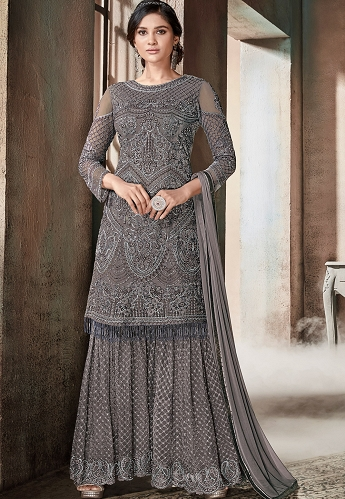 Dark Grey Net Embroidered Sharara Style Pakistani Suit - 607