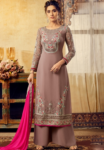 Coco Georgette Straight Palazzo Suit - 6128