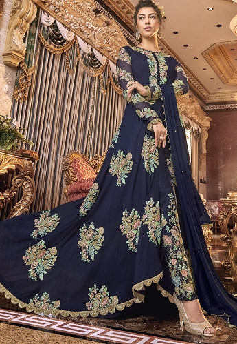 Blue Satin Silk Embroidered Front Slit Trouser Suit - 6304