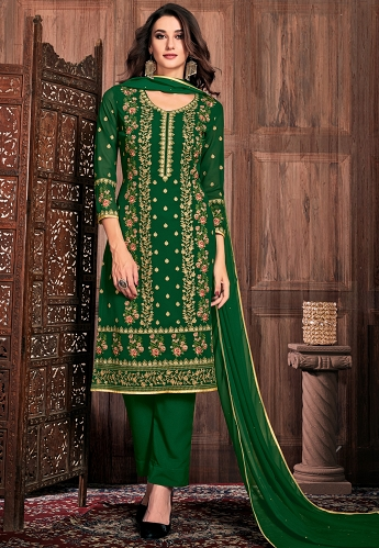 Dark Green Georgette Straight Trouser Suit - 32005