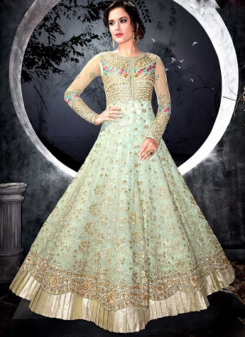 Sky Blue Net Layered Floor Length Anarkali Suit - 7002