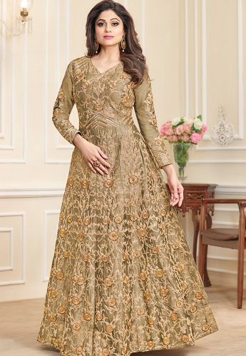 Shamita Shetty Beige Silk Long Anarkali Suit - 7003