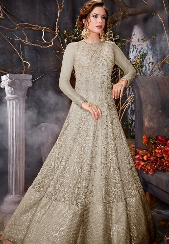 Grey Shade Net Floor Length Anarkali Suit - 7004a
