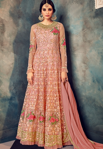 Pink Net Floor Length Embroidered Anarkali Suit - 7024