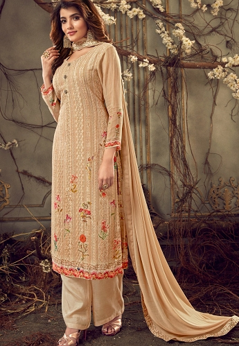Beige Georgette Straight Palazzo Suit - 7186