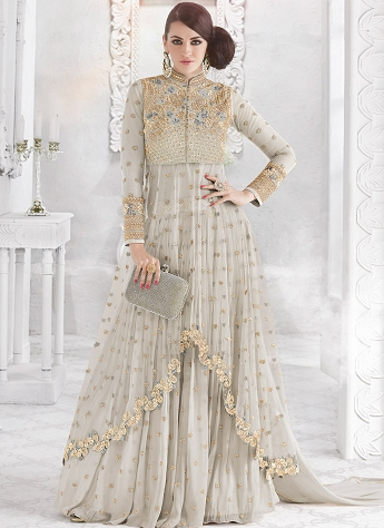 Grey Georgette & Net Embroidered Lehenga Style Designer Suit