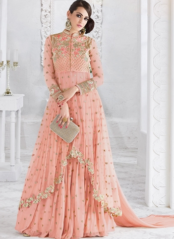 Baby Pink Georgette & Net Embroidered Lehenga Style Designer Suit