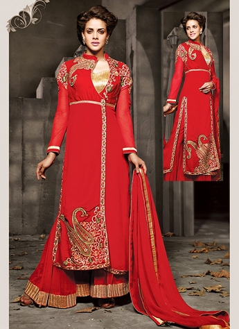 Ravishing Red Georgette Palazzo Style Designer Suit