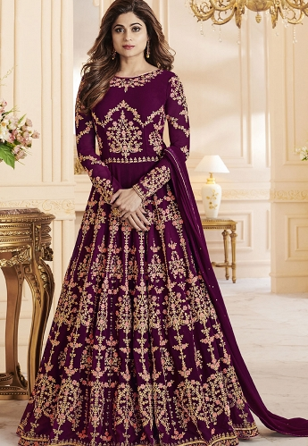 Shamita Shetty Purple Georgette Long Anarkali Suit - 8033
