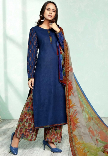 Dark Blue Pure Cotton Palazzo Style Suit - 803A