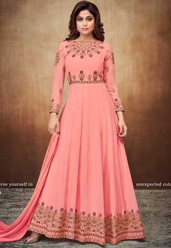 Shamita Shetty Pink Georgette Embroidered Party Wear Anarkali Suit- 8059