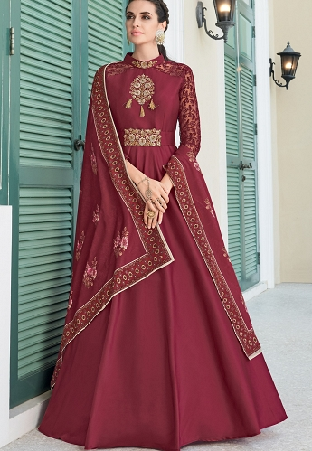 Maroon Soft Silk Long Embroidered Anarkali Gown - 9006