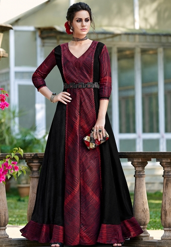 Maroon Shade Silk Digital Printed Long Gown - 9008