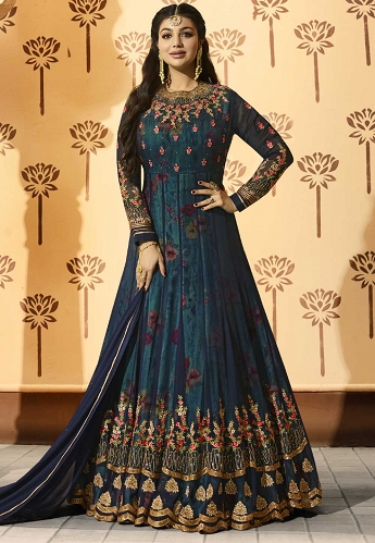 Ayesha Takia Blue Georgette Floor Length Anarkali Suit - 9018