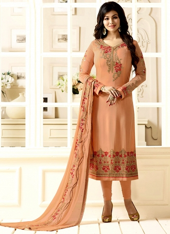 Ayesha Takia Peach Georgette Straight Churidar Suit - 9516