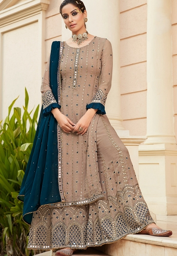 Beige Georgette Embroidered Pakistani Palazzo Suit - 9704A