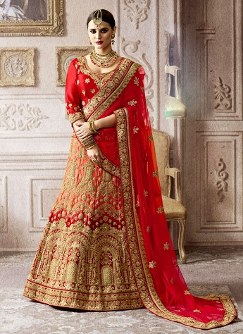 Amusing Peach And Red Satin Embroidered A-line Lehenga Choli