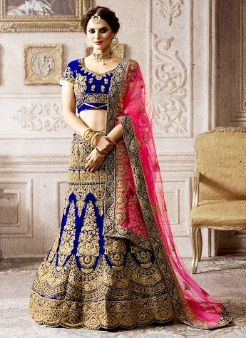 Versatile Embroidered Work Royal Blue Velvet Lehenga Choli