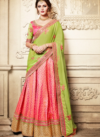 Conspicuous Pink & Green Dupion Silk Brocade Wedding Lehenga Saree