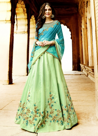 Mesmerizing Sea Green Silk Embroidered A line Lehenga Choli