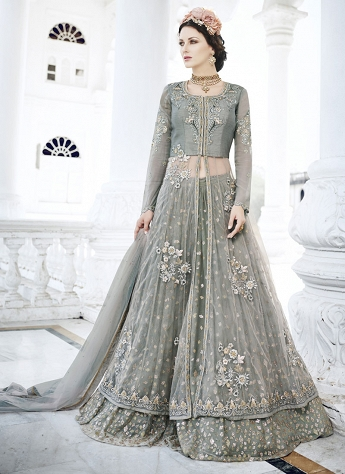 Invaluable Grey Net & Bangalori Silk Lehenga Style Suit