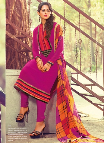 Rakul Preet Pink Cotton Straight Churidar Suit - 22