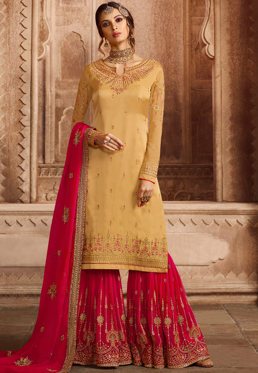 7ddb37a308 Mustard Satin Georgette Embroidered Sharara Style Pakistani Suit ...