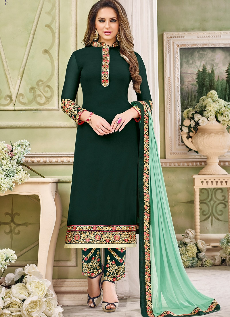2573014d70b71 section. Home    Dark Green Georgette Trouser Style Pakistani Suit ...