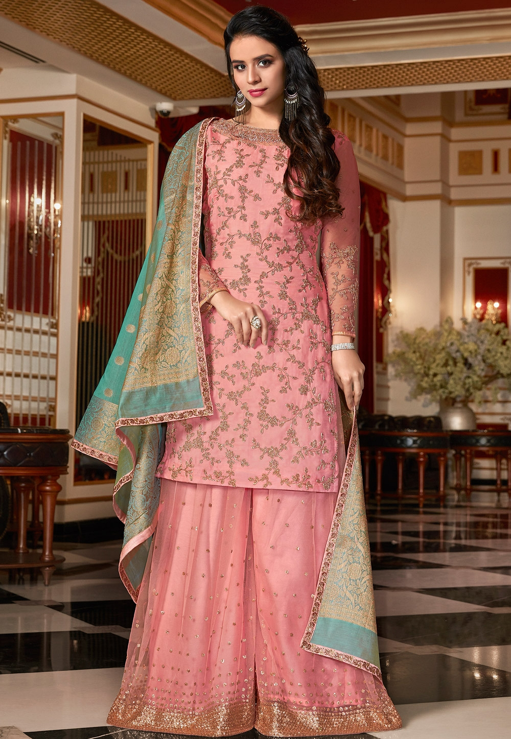 bea075e831 More Views. Light Pink Designer Satin Georgette Embroidered Sharara Style  ...