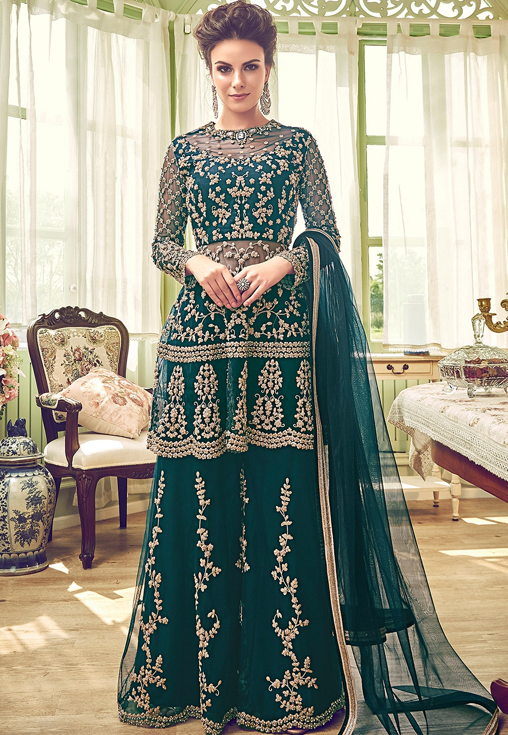d5777ed0d0 Green Shade Butterfly Net Embroidery Palazzo Style Pakistani Suit ...