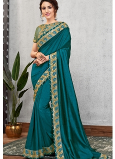 Turquoise Green Silk Georgette Embroidered Saree - 11419