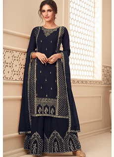 Navy Blue Georgette Embroidered Palazzo Suit - 11018