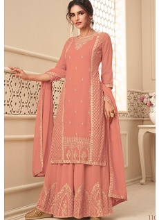 Peach Georgette Embroidered Palazzo Suit - 11022