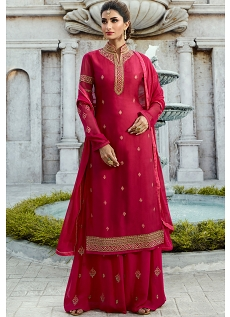 Rani Pink Satin Georgette Straight Palazzo Style Suit - 16106