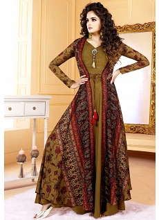 Golden Tussar Silk Long Jacket Printed Readymade Gown - 5502