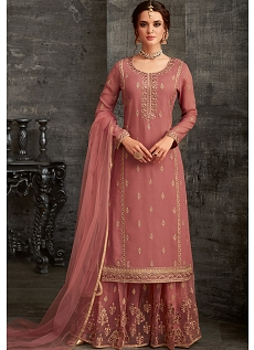 Pink Georgette Embroidered Palazzo Style Pakistani Suit - 62001