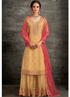 Yellow Shade Georgette Embroidered Palazzo Style Pakistani Suit - 62005