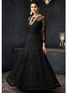 Black Net Heavy Embroidered Long Anarkali Suit - 66003