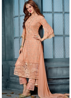 Peach Georgette Embroidered Straight Trouser Style Suit - 804