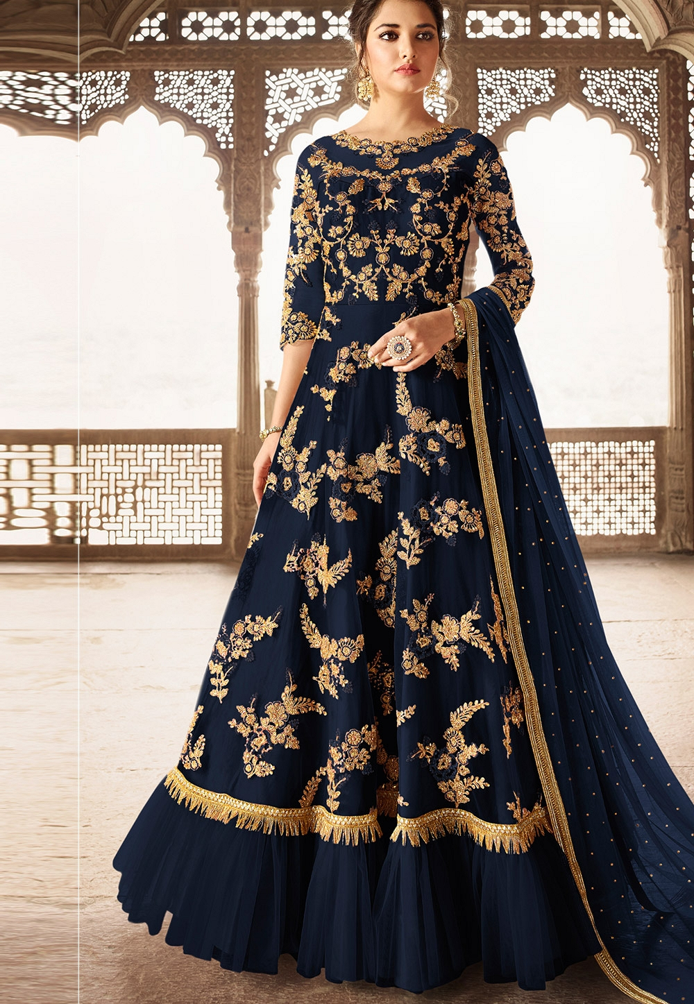 Navy Blue Silk Heavy Embroidered Floor Length Anarkali Wedding Suit - 5305B