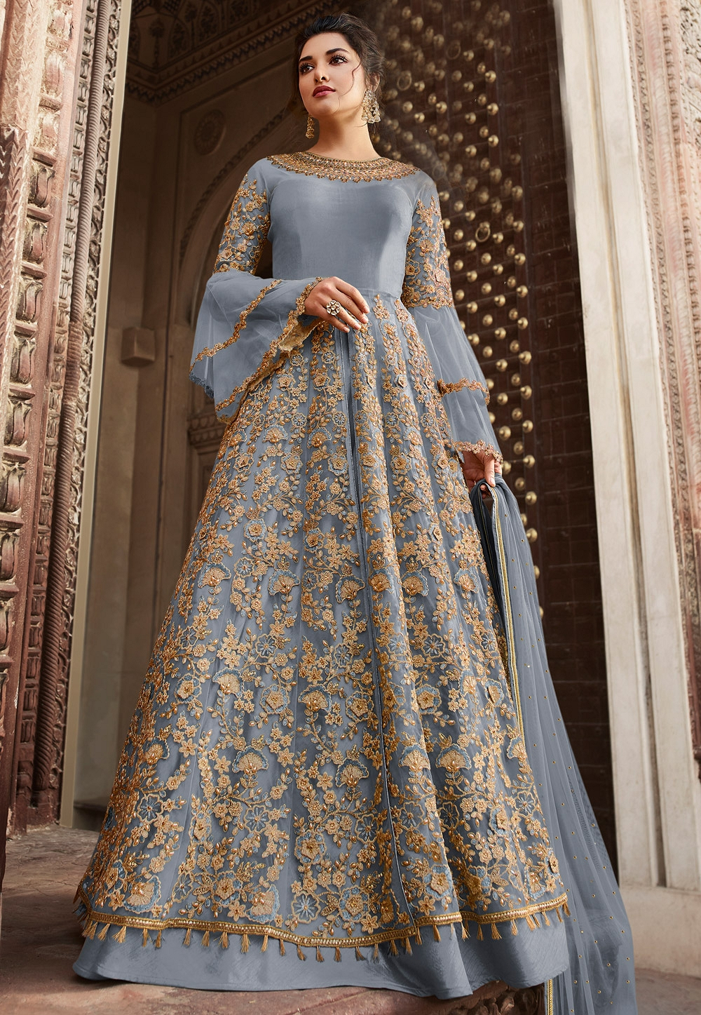 Light Grey Silk Heavy Embroidered Floor Length Anarkali Wedding Suit - 5306C