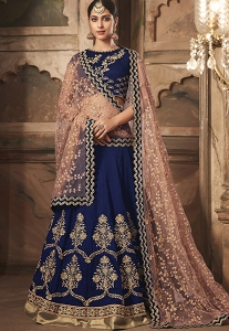 Navy Blue Banarasi Silk A Line Embroidered Lehenga Choli - 10002