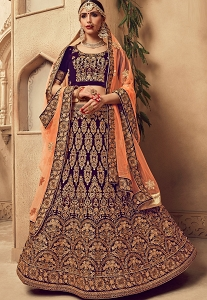 Indigo Velvet Embroidered Bridal Lehenga Choli - 10006