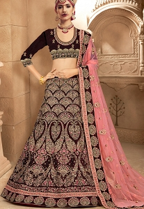 Purple Velvet Embroidered Bridal Lehenga Choli - 10008