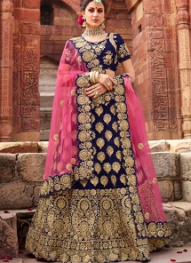 Navy Blue Velvet A-line Embroidered Lehenga Choli - 1004