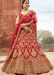 Red Satin A-line Embroidered Lehenga Choli - 1007
