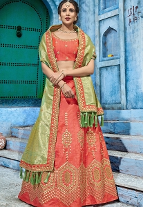 Orange Silk A-line Lehenga Choli - 1007