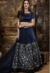 Navy Blue Art Silk A line Lehenga Choli - 1115