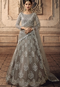 Grey Net Embroidered A-line Lehenga Choli - 20003