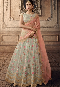 Grey Tissue Embroidered A-line Lehenga Choli - 20005